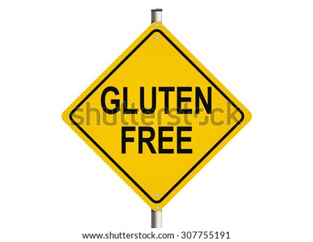Gluten free. Road sign on the white background. Raster illustration.
