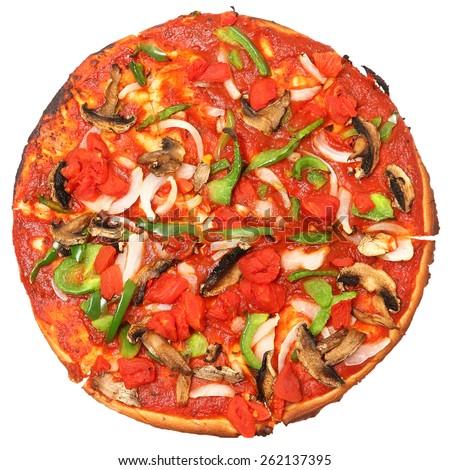 Gluten free vegan pizza, no cheese, no meat, no gluten pizza over white background. - stock photo