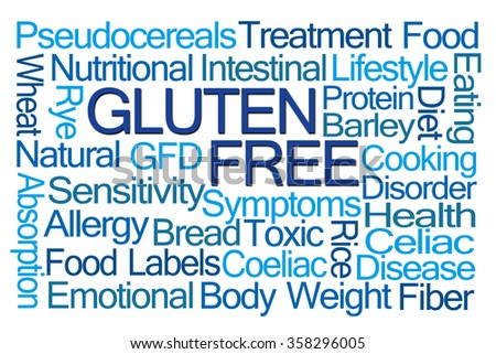 Gluten Free Word Cloud on White Background - stock photo
