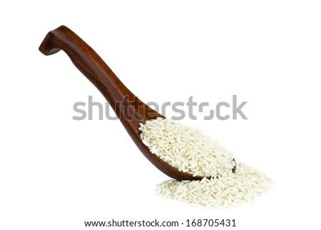 Glutinous rice in wooden spoon on white background - stock photo