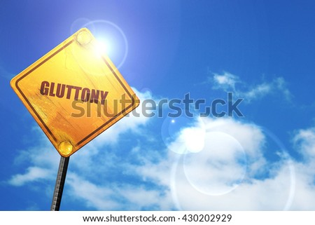 gluttony, 3D rendering, glowing yellow traffic sign