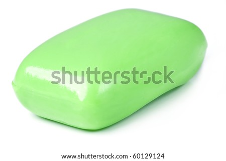 Glycerin green Soap Bar. Isolated on white background. - stock photo