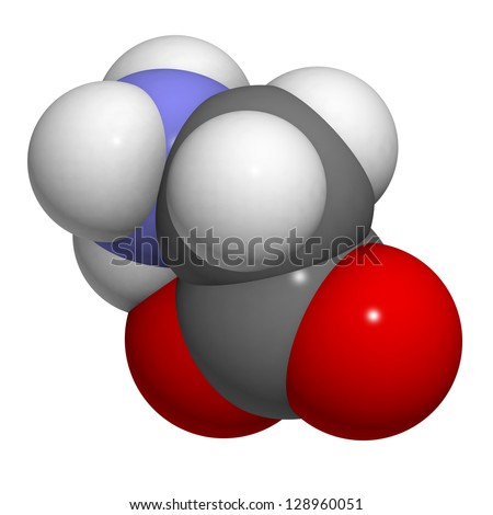 Glycine (Gly, G) amino acid, molecular model. Amino acids are the building blocks of all proteins. Atoms are represented as spheres with conventional color coding: hydrogen (white), carbon (grey), etc - stock photo