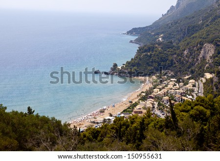 Glyfada Beach On the Island of Corfu - stock photo
