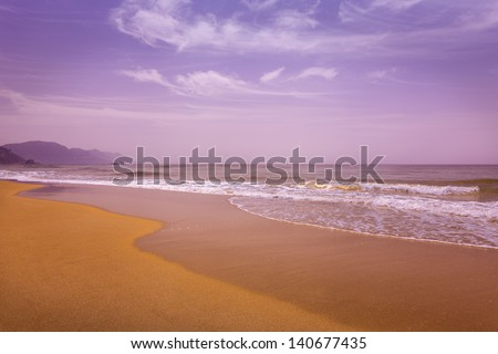Glyfada Beach on the island of Corfu, Greece - stock photo