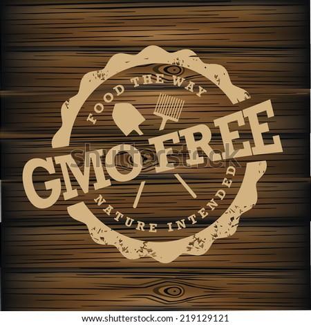 GMO free stamp on wood  - stock photo