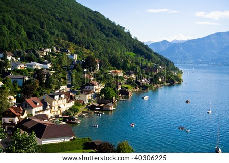 Gmunden city and Traunsee lake. Austrian Alps. - stock photo