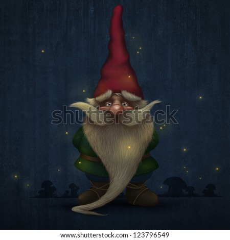 Gnome with long beard encircled to firefly - stock photo