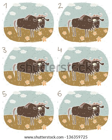 Gnu Visual Game for children. Task: Find two identical images (match the pair)! Answer: No. 4 and 5. (for vector see image 114705106) - stock photo