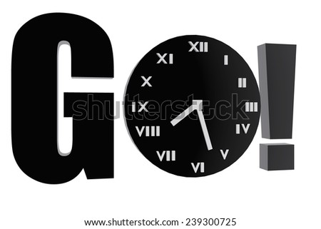 Go and clock symbol - stock photo