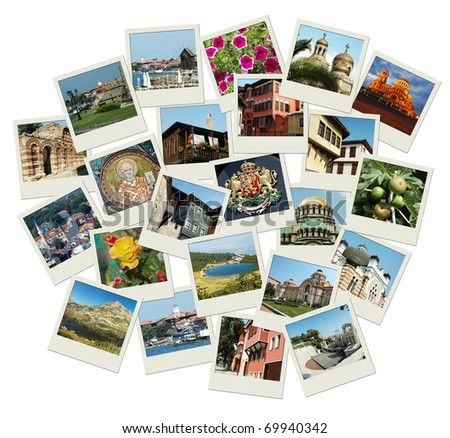 Go Bulgaria - background with travel photos of famous landmarks, all photos were taken by me - stock photo