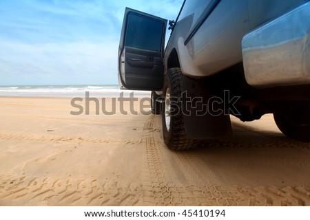 go by car to ocean coast - stock photo