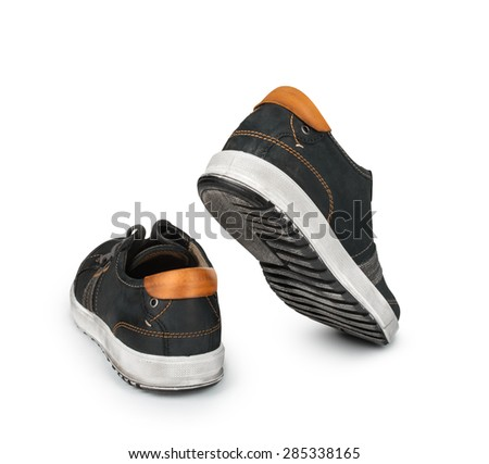 go empty shoes on an isolated white background - stock photo