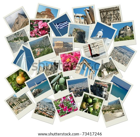 Go Greece - background with travel photos of famous landmarks, all photos are my own - stock photo