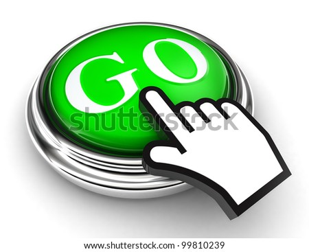 go green button and cursor hand on white background. clipping paths included - stock photo