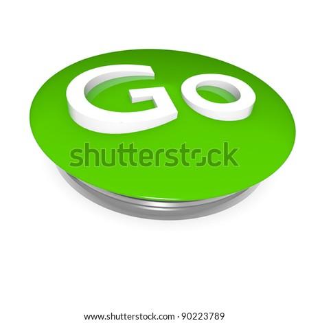 Go green button, 3D image on white - stock photo