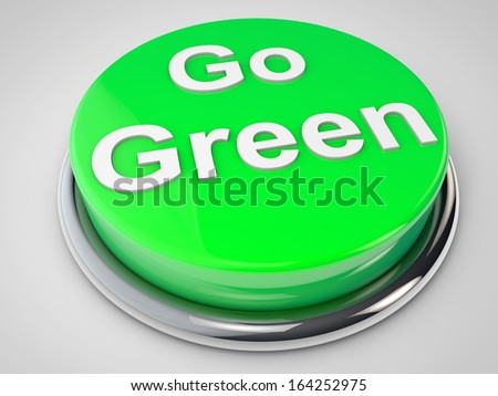 Go Green Button over white background - stock photo