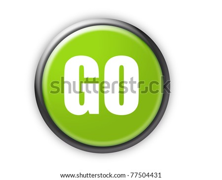 go green button with metallic edge over white background - stock photo