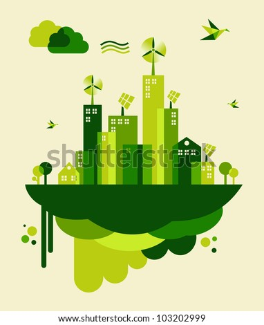 Go green city. Industry sustainable development with environmental conservation background illustration. - stock photo