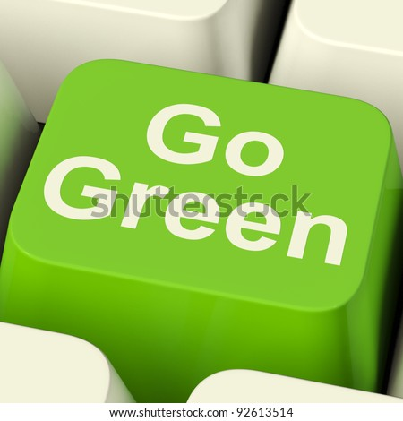 Go Green Computer Key Showing Recycling And Eco Friendliness - stock photo