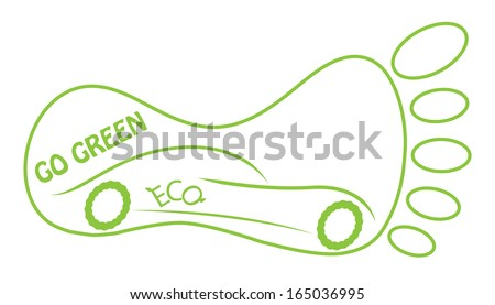 Go green concept design with footmark and eco friendly car. Easy to edit ecological illustration. - stock photo