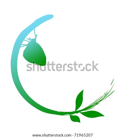 Go Green concept - from sky (blue) to earth (green), the nature is in harmony - stock photo