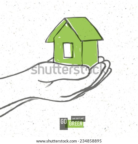 Go Green Concept Poster With House. Raster version