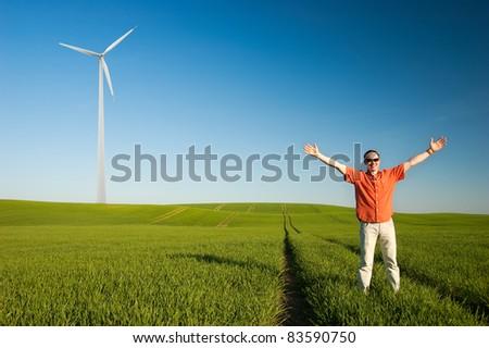 Go green conception - Freedom of renewable energy - stock photo