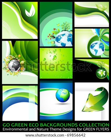 Go Green Eco Backgrounds Collection - 9 different Environmental Illustrations