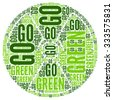 Go Green Eco Word Cloud Illustration Isolated on White Background  - stock vector