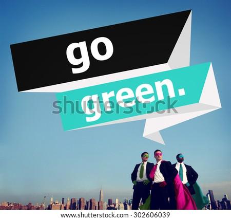 Go Green Environmental Conservation Business Concept - stock photo