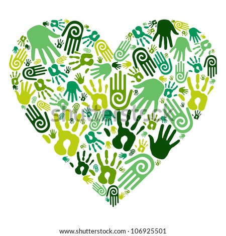 Go green human hands icons in love heart isolated over white background. - stock photo