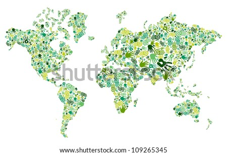 Go green human hands icons in World map composition background. - stock photo