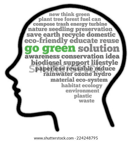 Go green in words cloud - stock photo