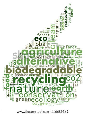 Go green info-text graphics and arrangement concept (word cloud) in white background - stock photo