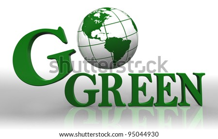 go green logo word and earth globe with clipping path - stock photo