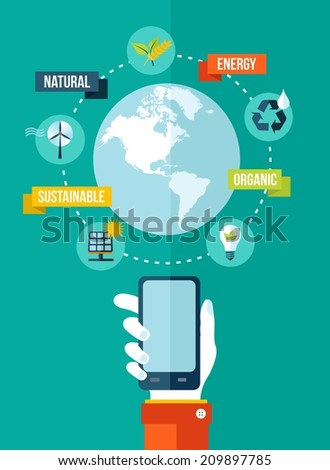 Go green Mobile app Technology and ecology concept illustration. - stock photo