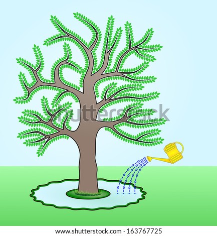 Go Green - Raster illustration of a Go Green concept where a tree is watered by electronic documents symbolized by binary zeroes and ones. Save trees by using electronic documents instead of paper. - stock photo