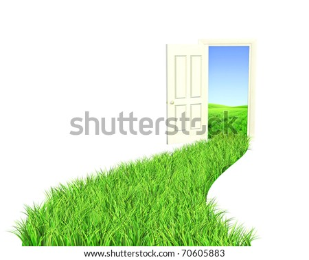 Go green. Road with bright green grass - stock photo