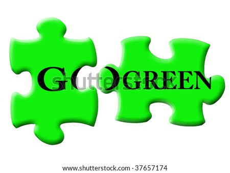 GO GREEN words in two puzzle pieces (green concept) - stock photo