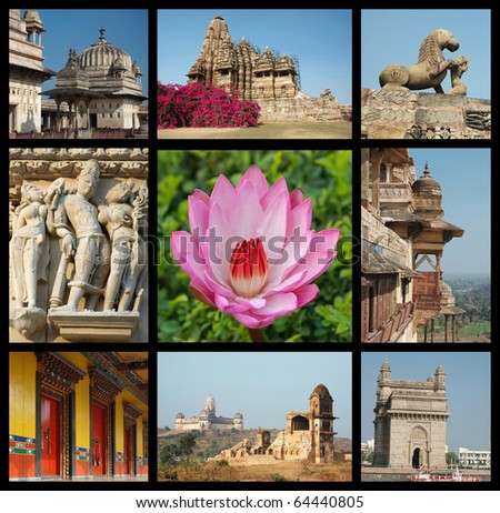 Go India collage - background with travel photos of Indian landmarks,all photos are my own - stock photo