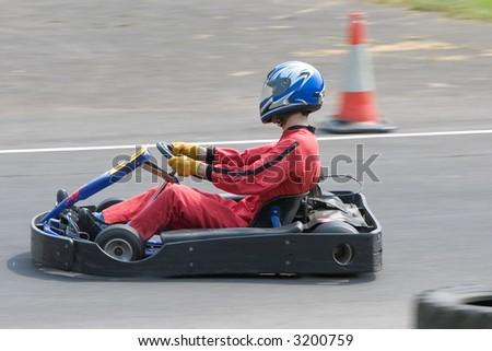 go kart racing - stock photo