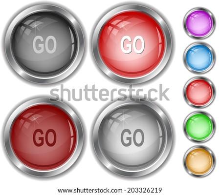 Go. Raster internet buttons.  - stock photo