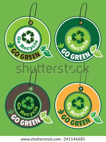 Go Recycle, Go Green Label Set - stock photo