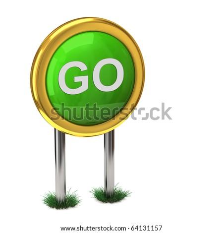 GO Signpost - stock photo