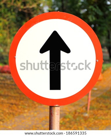 go straight direction traffic sign - stock photo