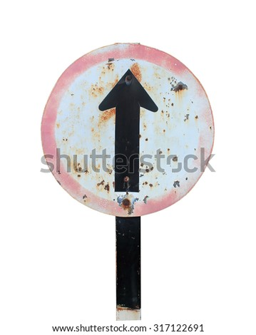 go straight direction traffic sign isolated on white background - stock photo