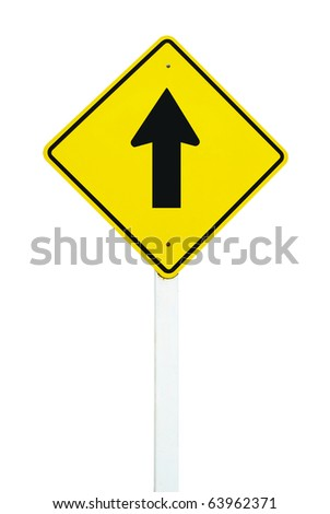 go straight direction traffic sign isolated on white background