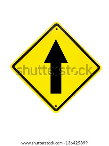 go straight traffic sign on white - stock photo