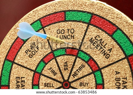 Go To Lunch A dart board with a dart in go to lunch. Horizontal. - stock photo